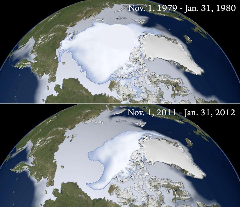 Sea ice 1979 v 2012