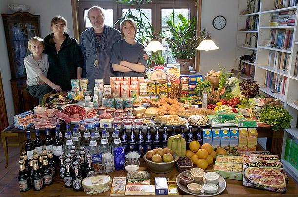 Germany: The Melander family of BargteheideFood expenditure for one week: 375.39 Euros or $500.07