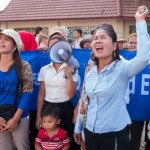 Tep Vanny (left) protesting evictions