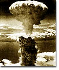 "A ""mushroom"" cloud rises over the city of Nagasaki on August 9, 1945, following the detonation of ""Fat Man."" The second atomic weapon used against Japan, this single bomb resulted in the deaths of 80,000 Japanese citizens."