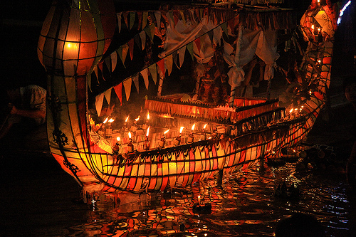 Fire Boat Festival in Laos