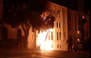 Chinese Embassy in San Francisco. Fire in entryway Jan 1, 2014