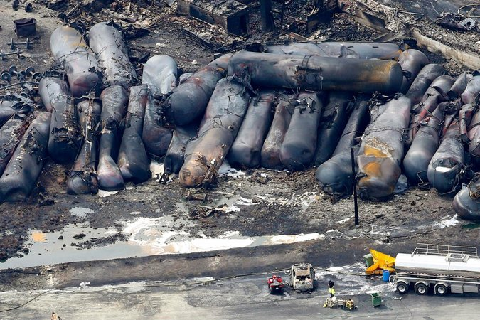 A train carrying crude oil derailed and exploded in Lac-Mégantic, Quebec, in July, killing 47. Mathieu Belanger/Reuters