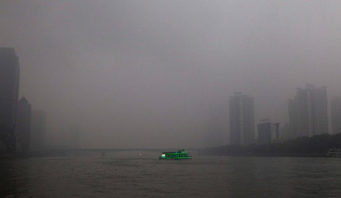 This ain't dusk folks, it's pollution in Guangdong Province, China (Credit Alex Lee/Reuters )