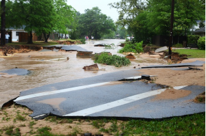A road bed after  heavy rains on April 30, 2014 in Pensacola, Florida.