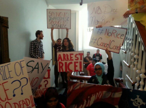 Students sit in @ President Barchis office to protest invitation to Rice