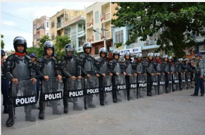 Police at Joon Mosque in Mandalay on Saturday evening. (Photo: The Irrawaddy)