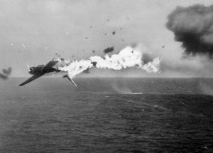 Japanese Torpedo Bomber  Going Down (US Navy photo)